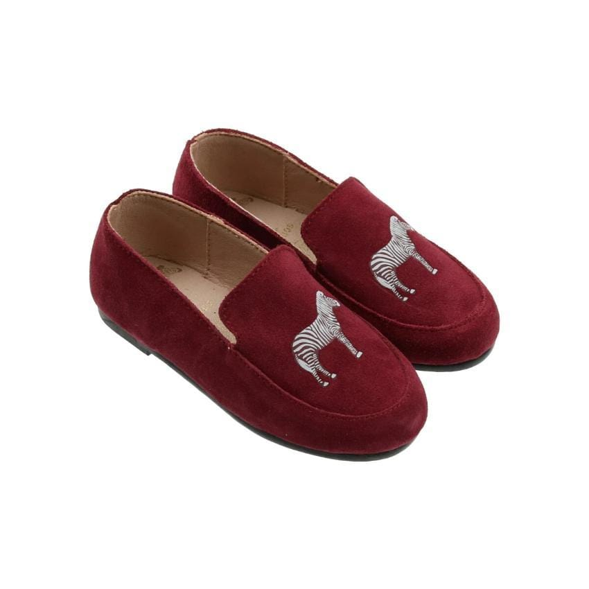 Zeebra Kids Accessories Jellybeanzkids Zeebra Himalayan Red Suede Logo Loafer