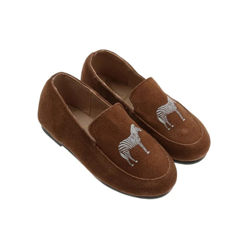 Zeebra Kids Accessories Jellybeanzkids Zeebra Siberian Tan Suede Logo Loafer