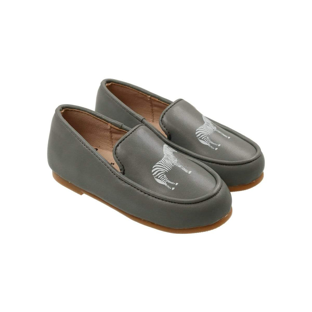 Zeebra Steel Grey Logo Loafers - JellyBeanz Kids