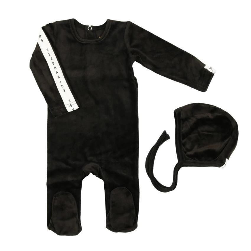 Zeebra Kids footie Jellybeanzkids Zeebra Black Velour Baby Set