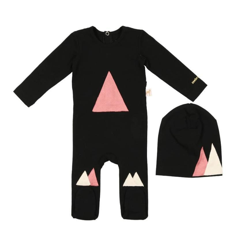 Zeebra Kids footie Jellybeanzkids Zeebra Blushing Rose Geometric Baby Set