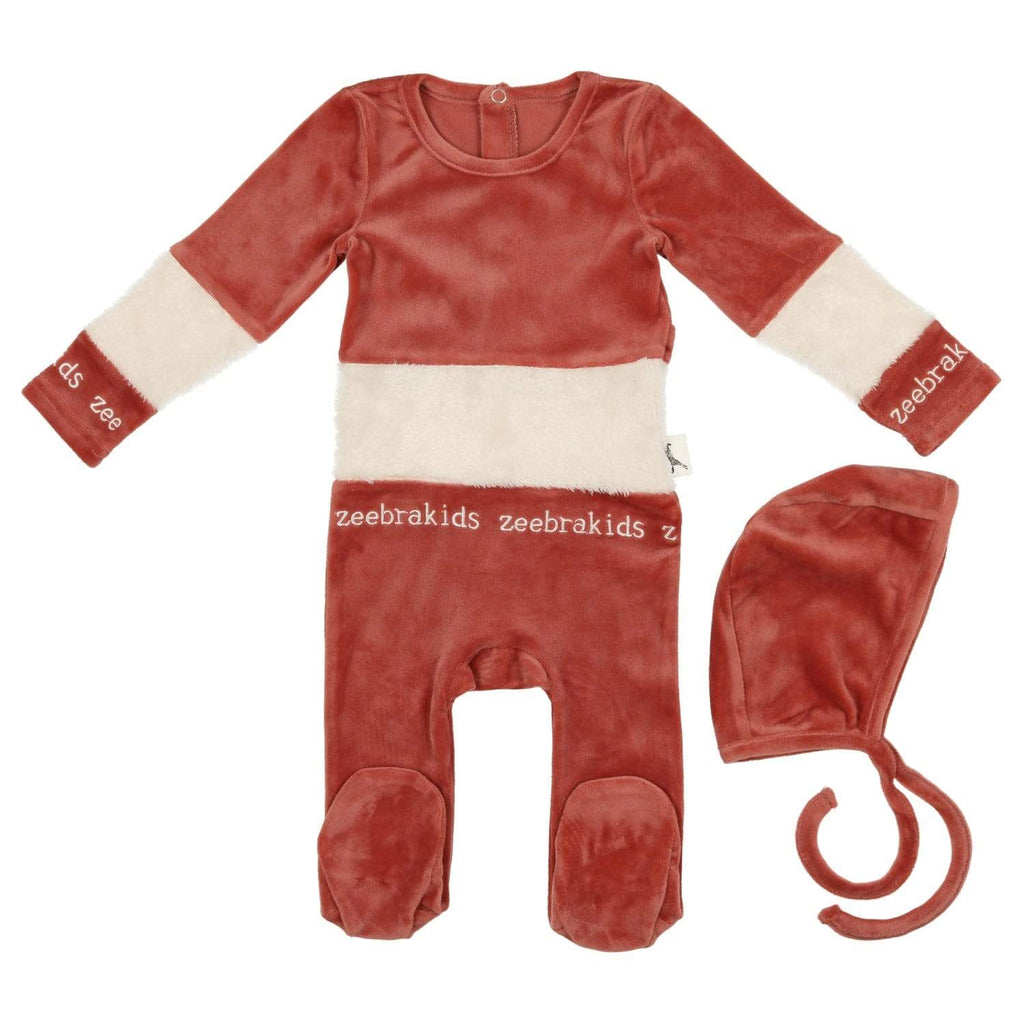 Zeebra Kids Footie Jellybeanzkids Zeebra French Rose Velour Sherpa Baby Set
