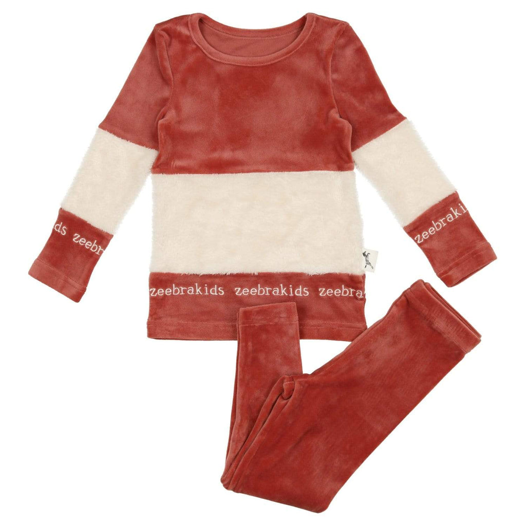 Zeebra Kids Pajamas Jellybeanzkids Zeebra French Rose Velour Sherpa Pjs