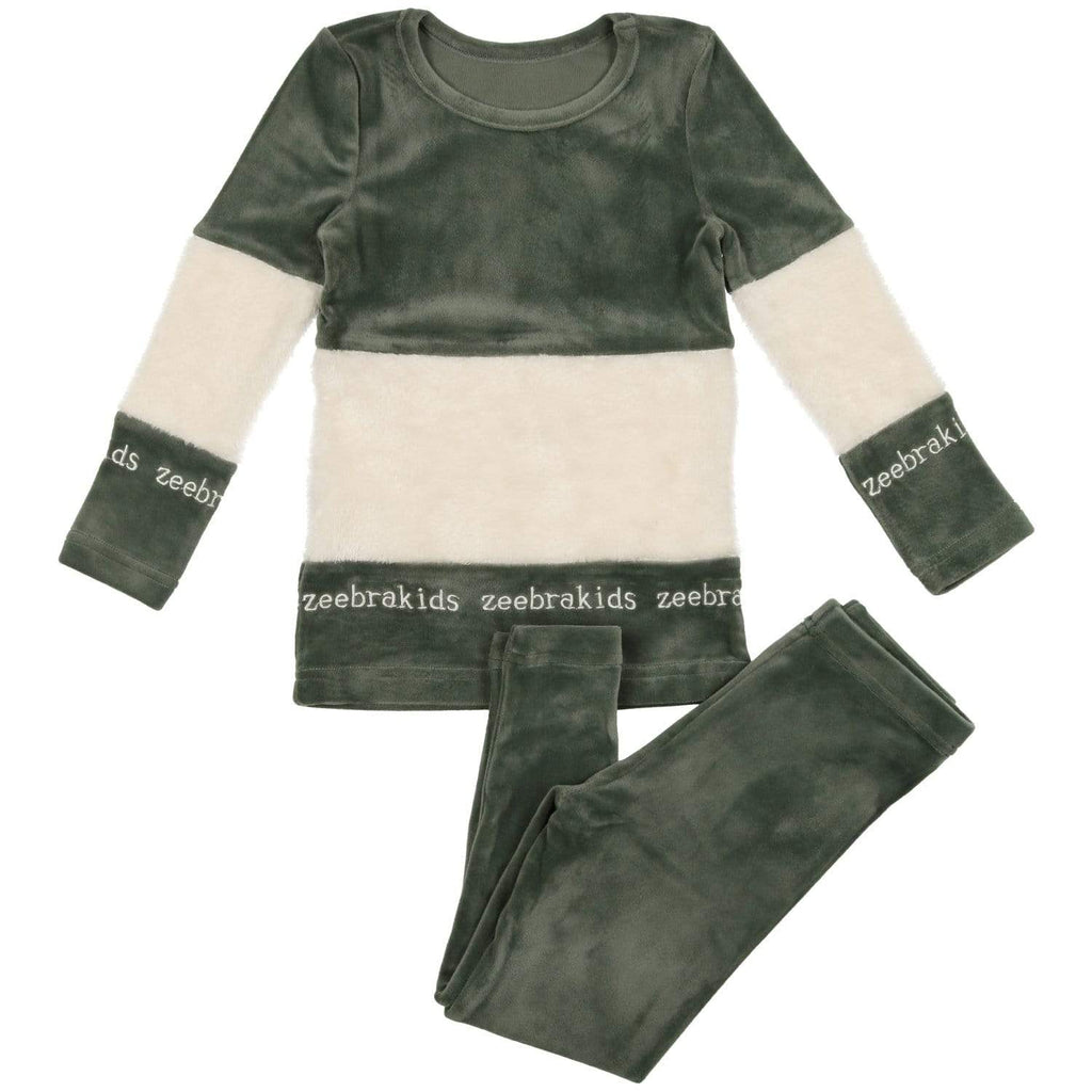 Zeebra Kids Pajamas Jellybeanzkids Zeebra Hunter Green  Velour Sherpa Pjs