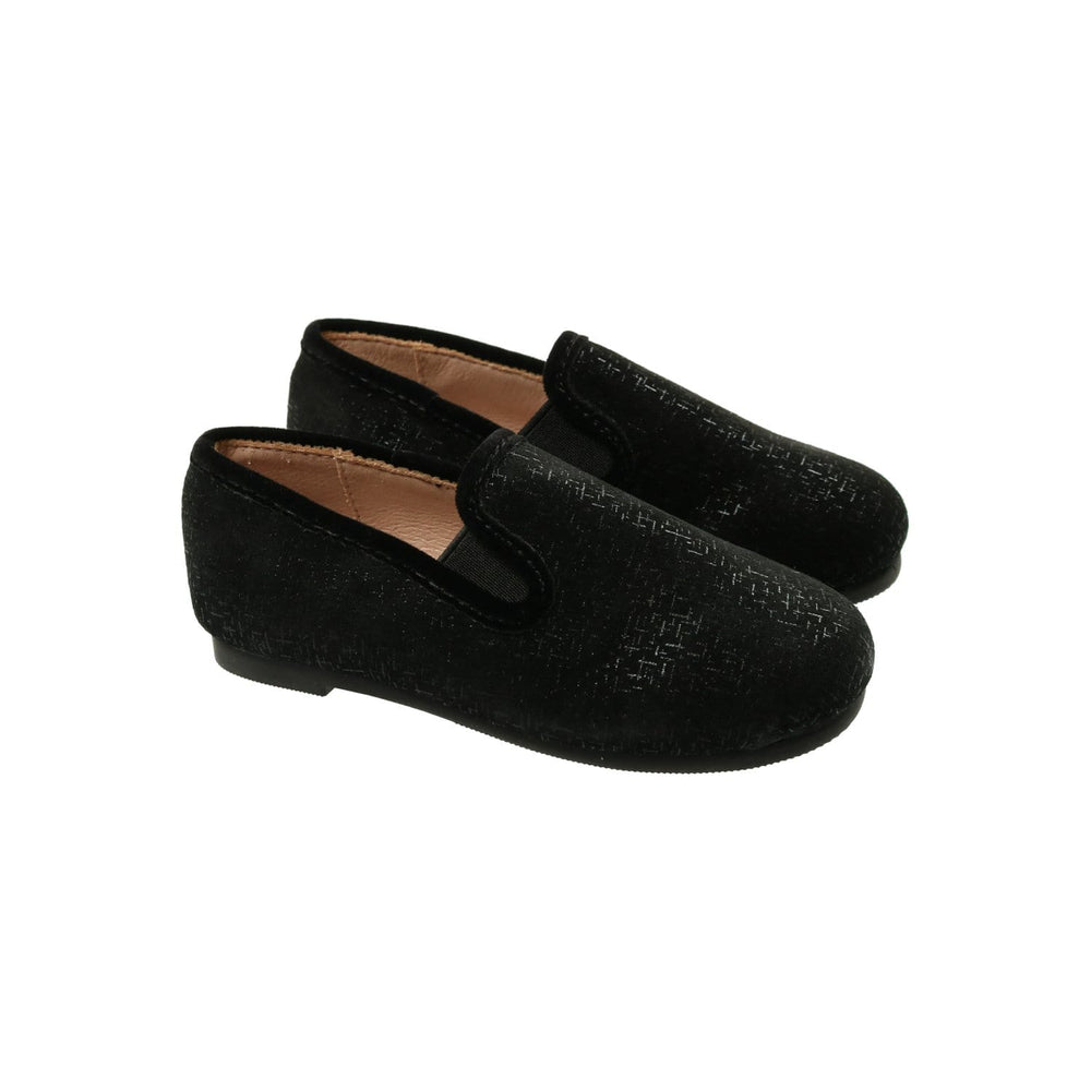 Zeebra Kids Shoes Jellybeanzkids Zeebra Black Metallic Suede Loafer