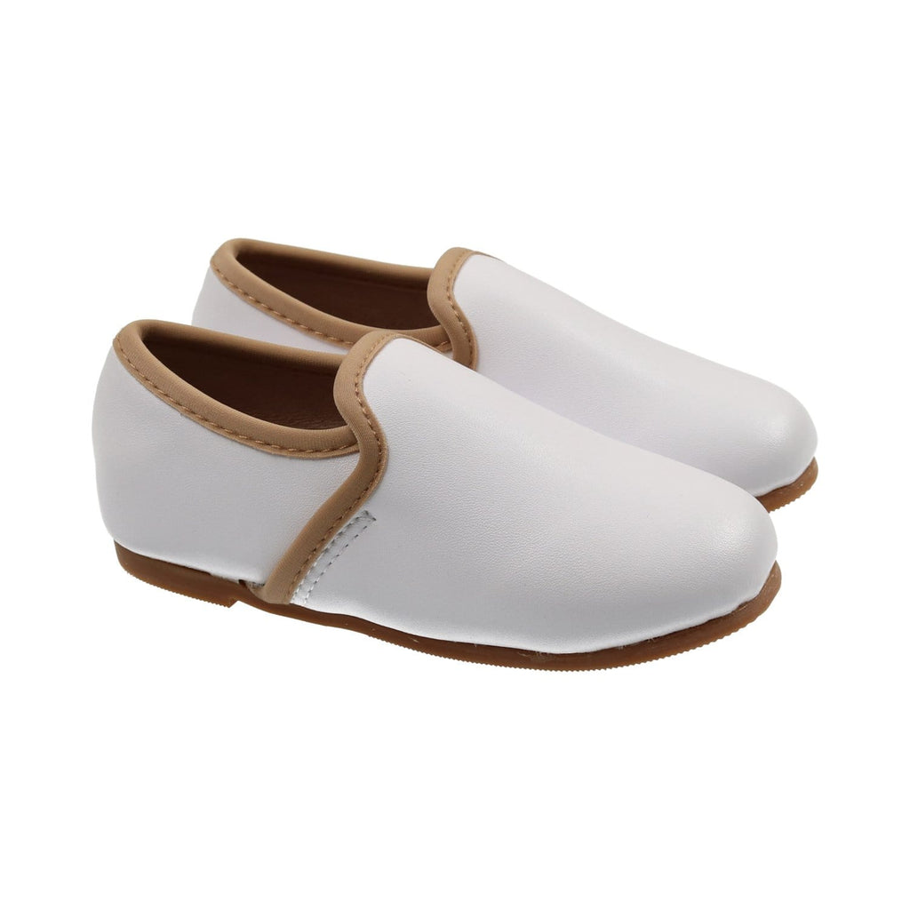Zeebra Kids Shoes Jellybeanzkids Zeebra Contrast Coconut White Loafer