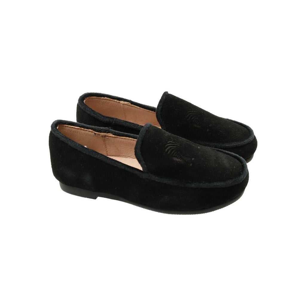 Zeebra Kids Shoes Jellybeanzkids Zeebra Onyx Black Embossed Logo Loafers