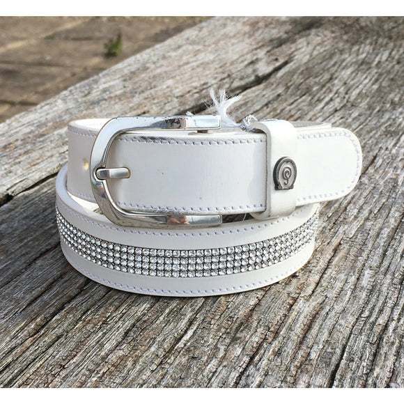 Otto Schumacher White and Plain Crystal Belt - Ready to Wear