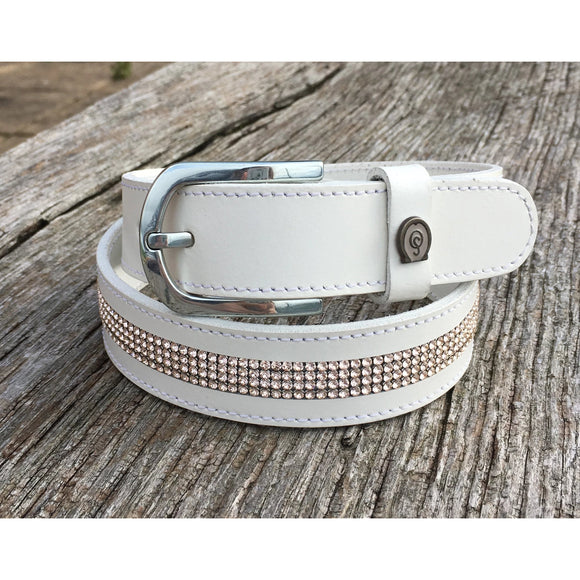 Otto Schumacher White and Blush Crystal Belt - Ready to Wear
