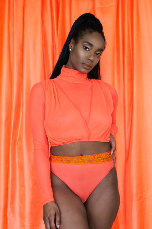 Highlighter Series - Hot Melon Turtleneck Crop