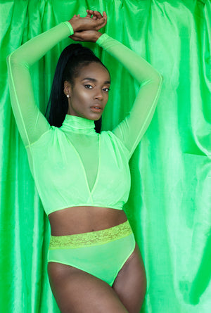 Highlighter Series - Fluorescent Lime Turtleneck Crop