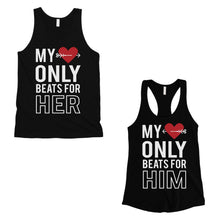Load image into Gallery viewer, My Heart Beats For Her Him Matching Couple Tank Tops Valentines Day