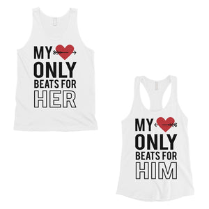 My Heart Beats For Her Him Matching Couple Tank Tops Valentines Day