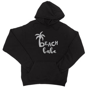 Beach Bride Babe Palm Tree-SILVER Unisex Pullover Hoodie Cute Fun - Black Olive