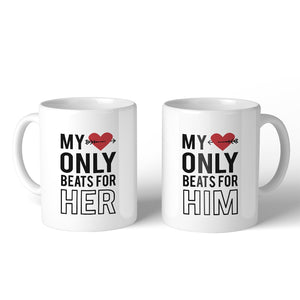 My Heart Beats For Her Him 11oz Matching Couple Gift Mugs For Him