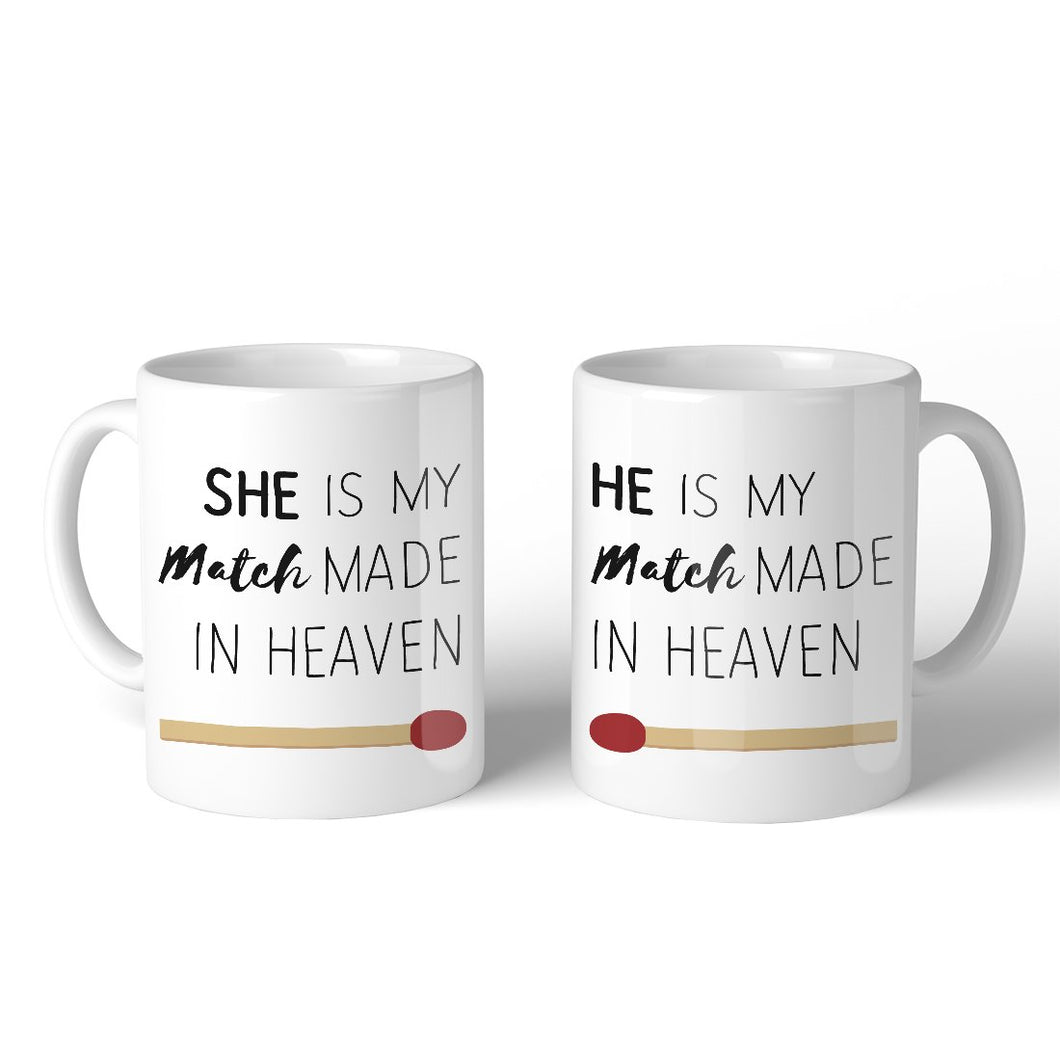Match Made In Heaven 11oz Cute Matching Mugs Funny Couple Gifts