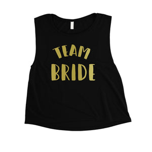 Bride Team Bride-GOLD Womens Crop Top Extravagent Blessed Awesome