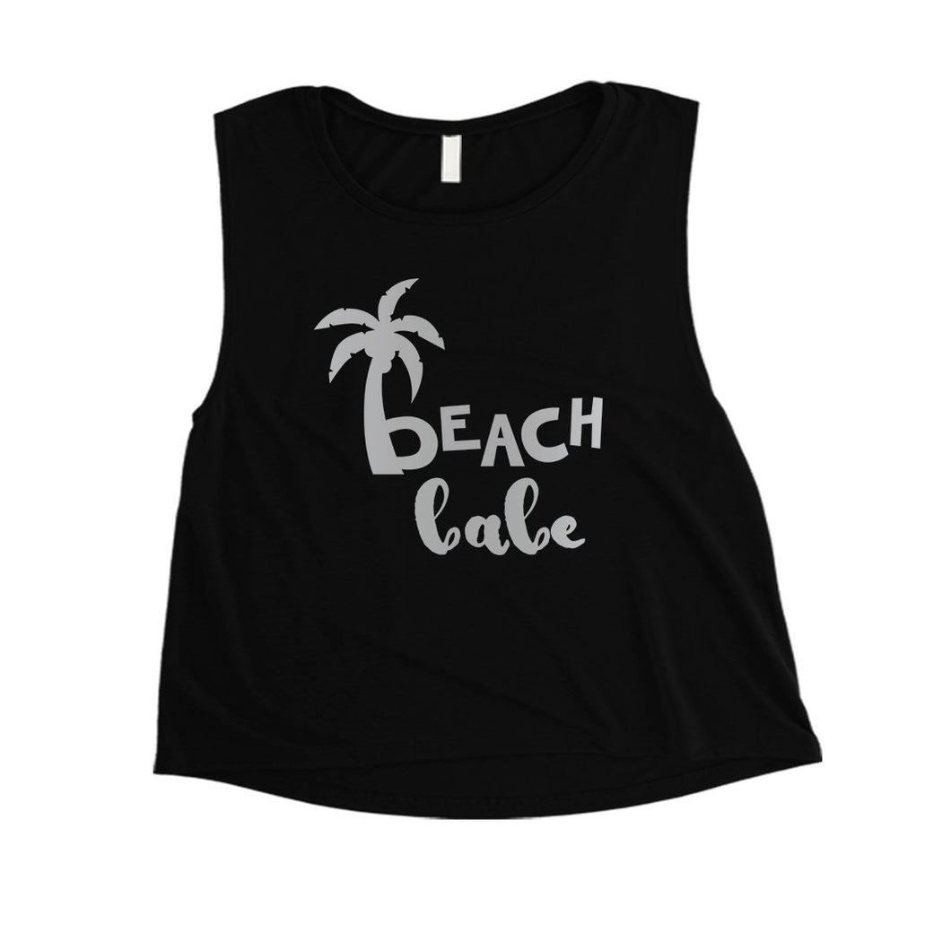 Beach Bride Babe Palm Tree-SILVER Womens Crop Top Exciting Silly
