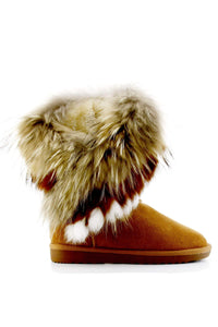 GISELLE FLUFFY FOX FUR  GENUINE LEATHER MOON BOOTS- CAMEL