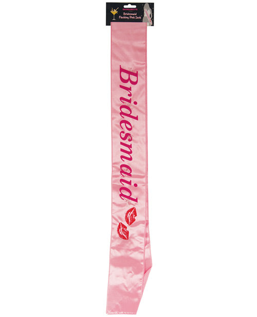 Bachelorette Bridesmaid Flashing Sash W-kisses - Pink