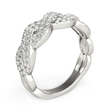 Load image into Gallery viewer, Diamond Studded Interlocking Waves Ring in 14k White Gold (5/8 cttw)
