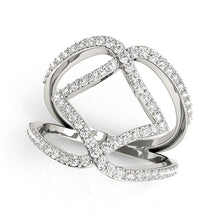 Load image into Gallery viewer, 14k White Gold Entwined Design Diamond Dual Band Ring (3/4 cttw)