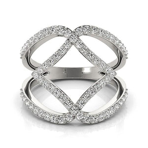 14k White Gold Entwined Design Diamond Dual Band Ring (3/4 cttw)