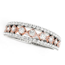 Load image into Gallery viewer, 14k White And Rose Gold Diamond Band (3/8 cttw)