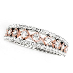 14k White And Rose Gold Diamond Band (3/8 cttw)