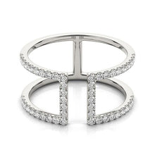 Load image into Gallery viewer, 14k White Gold Modern Dual Band Style Diamond Ring (1/2 cttw)