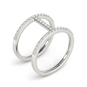 14k White Gold Dual Band Bridge Style Diamond Ring (3/8 cttw)