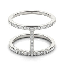 Load image into Gallery viewer, 14k White Gold Dual Band Bridge Style Diamond Ring (3/8 cttw)