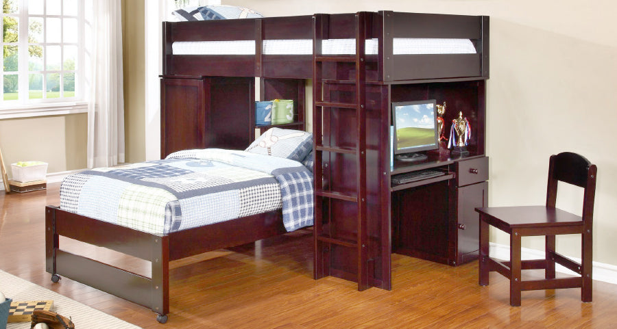 twin bunk bed and desk combination