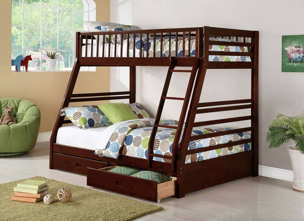 Twin Over Full Bunk Bed W Bonus FREE 2 Underdrawers