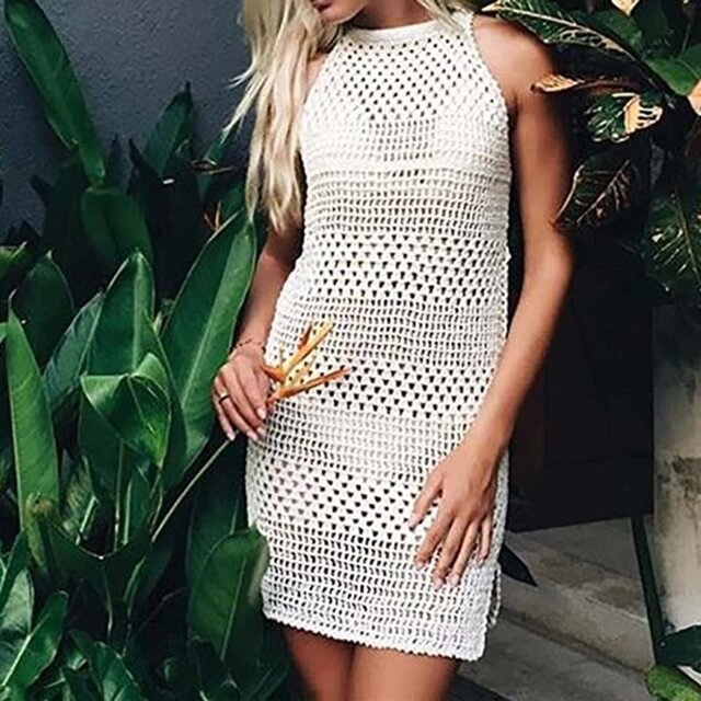 1a9f0e8fd3ac3 Designer New Crochet Knitted Beach Cover Up Tunic Dress Sleeveless Swim  cover up - Designed by Robe Plage