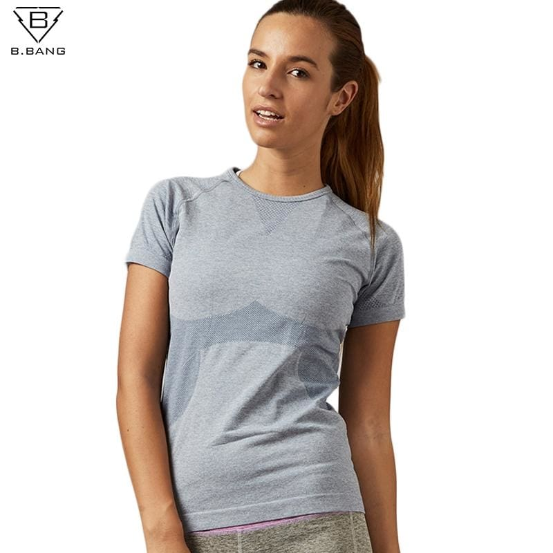 aea83a322 B.BANG Dry Quick Gym Yoga T Shirt Tights Women's Sport Tees for Running Gym  Fitness Short Sleeve Clothes Tops for Woman
