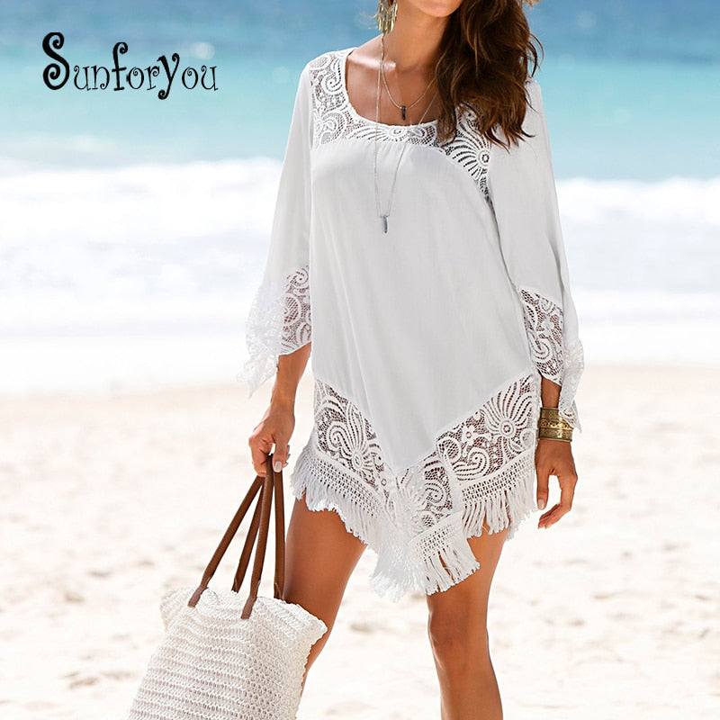 1b11f1bf2c Hottest Swim Cover up Beach Tunic Swimsuit for Beach Lace Bikini Cover Up