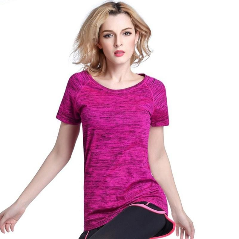 c729c00f7 Quick Dry Professional Women Sports T Shirt For Yoga Fitness Running  Jogging Gym Sweat Breathable Exercises Short Sleeve Tops