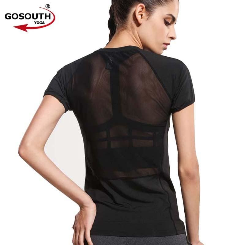 Women Black Short Sleeve Elastic Yoga Mesh Sports T Shirt Fitness Women s  Gym Running Black Tops Tee Quick Dry Shirts G-086 16ad17f21