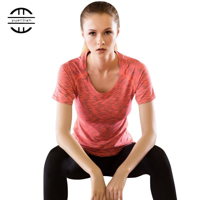 b0c7925ce YEL 2016 Gym T shirt Compression Tights Jersey Sport T-shirt Dry Quick  Running Short Sleeve Fitness Clothes Women Tees tops 5003