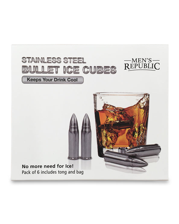 Men's Republic Bullet Ice Cubes - 6 Pieces Stainless Steel