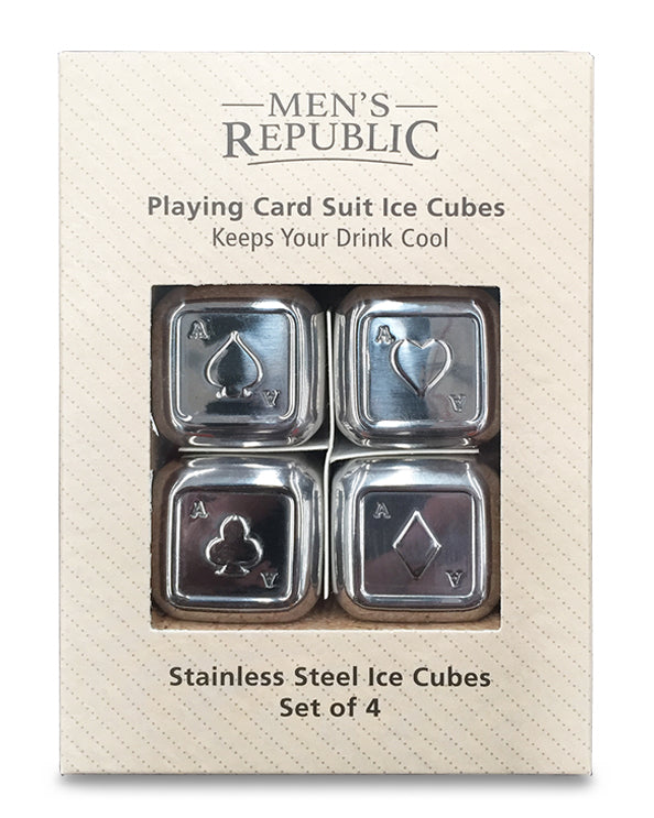 Men's Republic Playing Card Suits Ice Cubes - 4 Pieces Stainless Steel