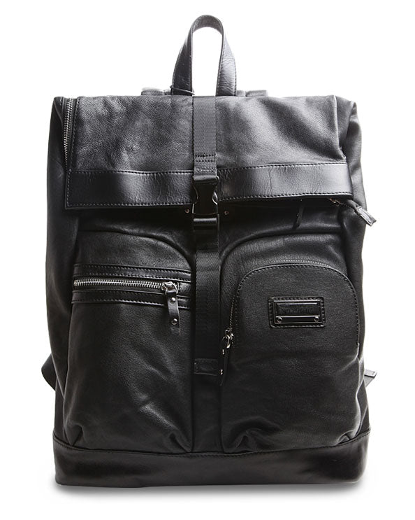 Men's Republic Leather Backpack - Black Pebbled Cowhide