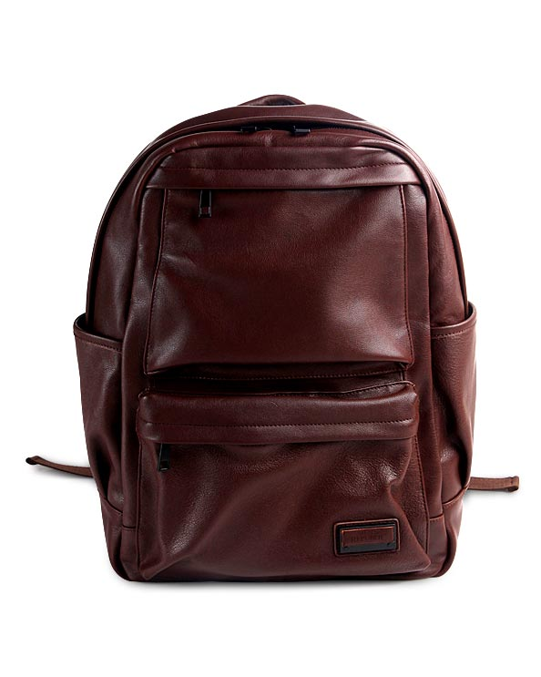 Men's Republic Leather Backpack - Brown Pebbled Cowhide