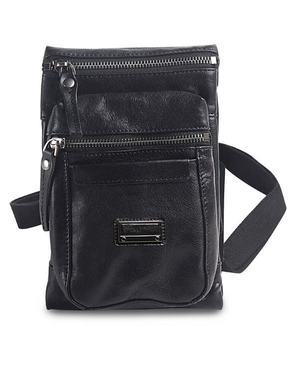 Men's Republic Leather Cross Body Bag - Black Pebbled Cowhide