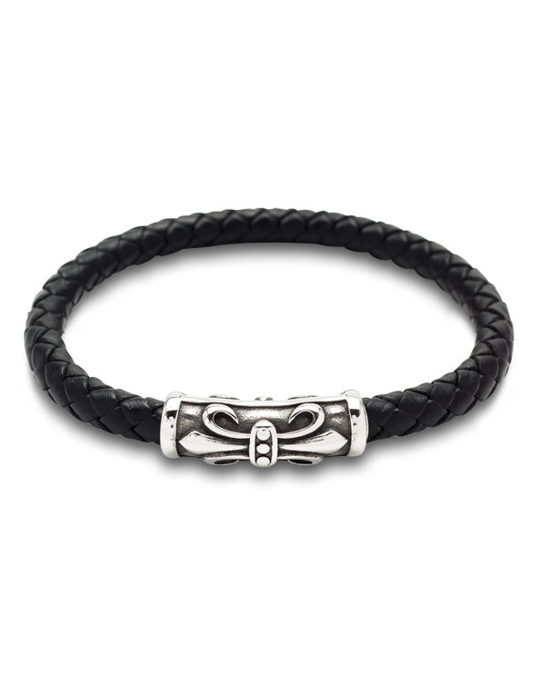 Men's Republic - Stylish Leather Bracelet with Stainless Steel Clasp