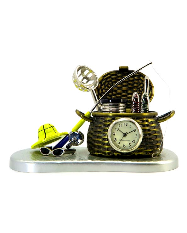 Men's Republic Desk Decor - Fishing Theme with Clock