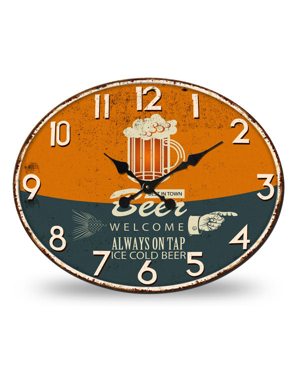 Men's Republic Retro Metal Wall Clock - Beer