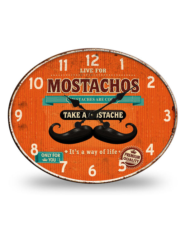Men's Republic Retro Metal Wall Clock - Mostachos