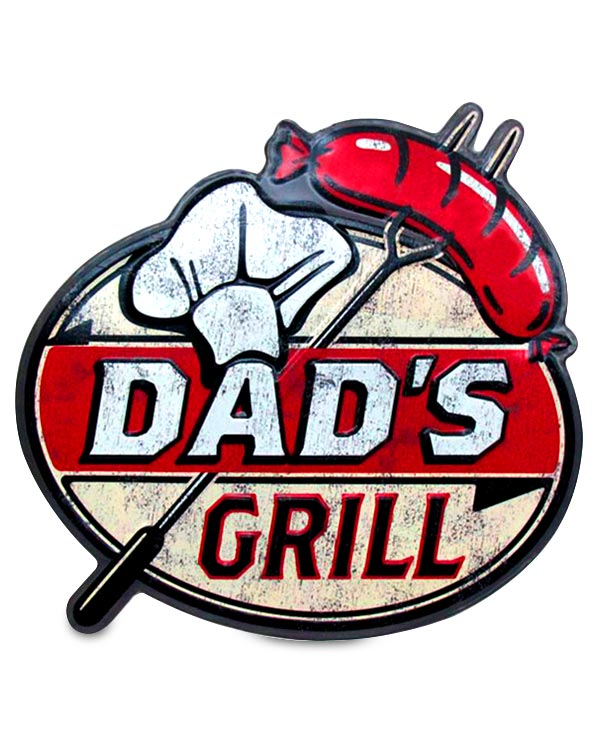 Men's Republic Retro Metal Sign - Dad's Grill